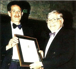 AES Convention Chair Michael Falk presents Lifetime Achievement Award to Bill Armstrong. Sydney, April 1995