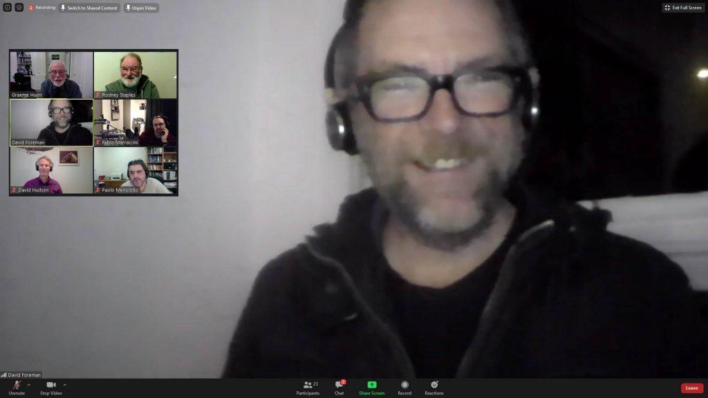 David Foreman appears on webcam